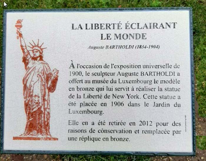 plaque for statue of liberty at Luxembourg Gardens in Paris
