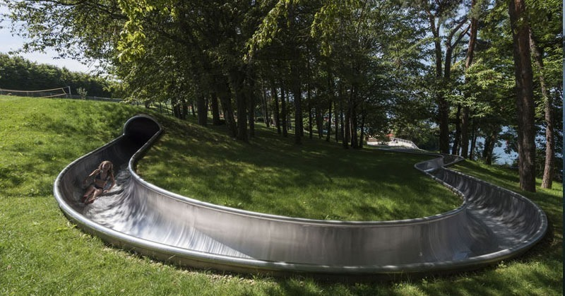 outdoor slide in Thonon les Bains at the public pool on the water