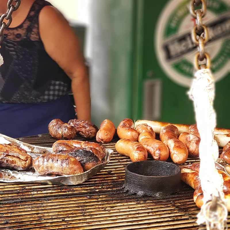 sausages, boudin blanc are popular Christmas foods at French Christmas markets