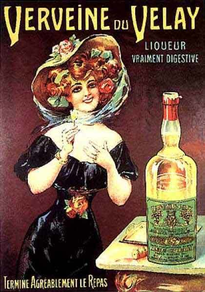 Old poster of verveine Velay A French digestif drink
