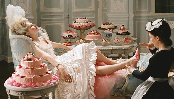 Image of Marie Antoinette movie eating cakes