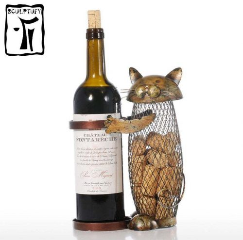 Drunk cat wine stand & cork container