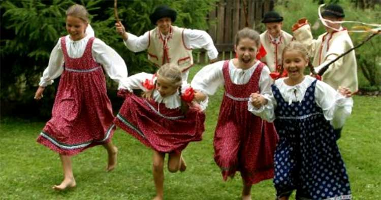 Boys whip girls symbolically with something called an Easter whip and pour water on them in an ancient Easter fertility celebration in Ukraine, Russia, Czechia, Slovakia and nearby countries. Like Lupercalia, whipping whips away infertility.