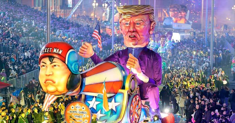 Nice Carnival 2018 theme Space, Trump and Kim Jong-un