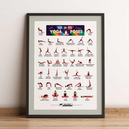 Bilingual yoga pose french english (5 by 7 ratio International size)yoga pose french english (5 by 7 ratio International size)