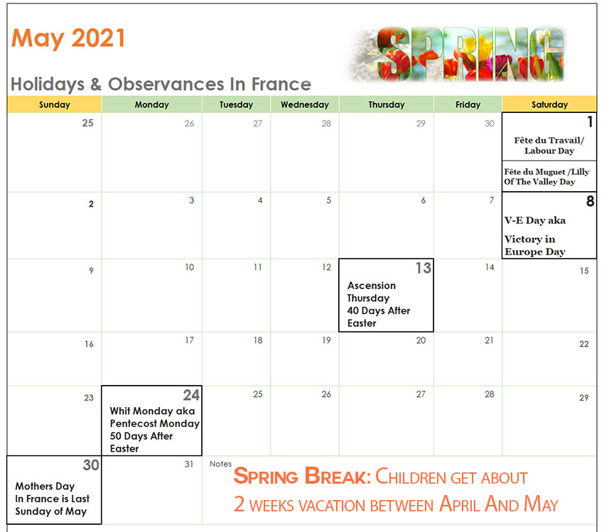 Calendar French Holidays in May