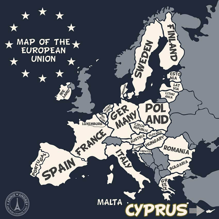 MAP OF EU: Cyprus is part of EU