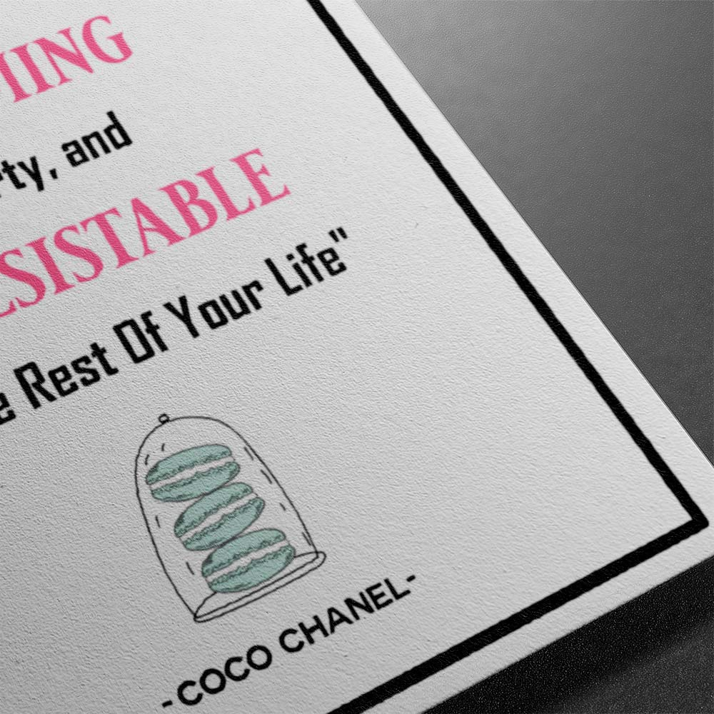 Coco Chanel Greeting Card Quote Birthday Card For Gorgeous & Irresistible women
