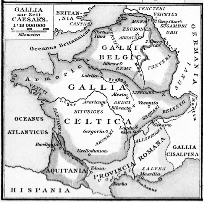 Map of Roman territory Gallia includes most of France and surrounding areas
