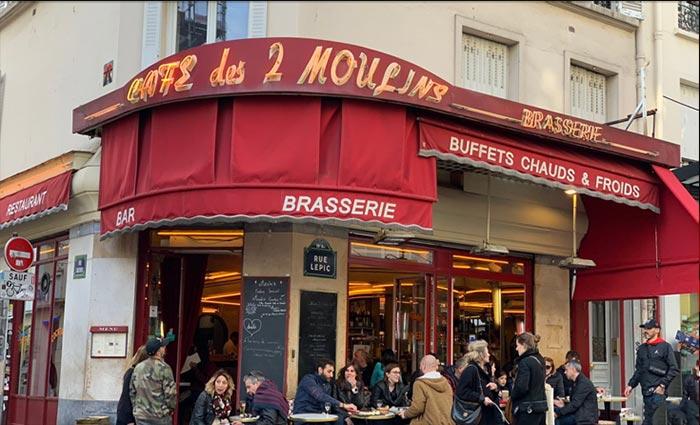 cafe des 2 moulins in the Montmartre district of Paris: where Amélie worked as a waitress