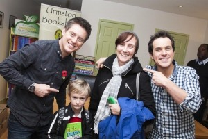 Manchester photographer photographs Dick and Dom in da bookshop