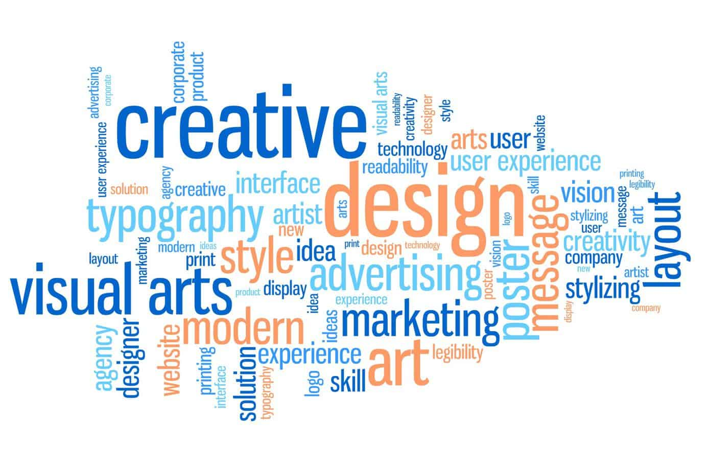 Design and visual arts word cloud illustration. Word collage concept.