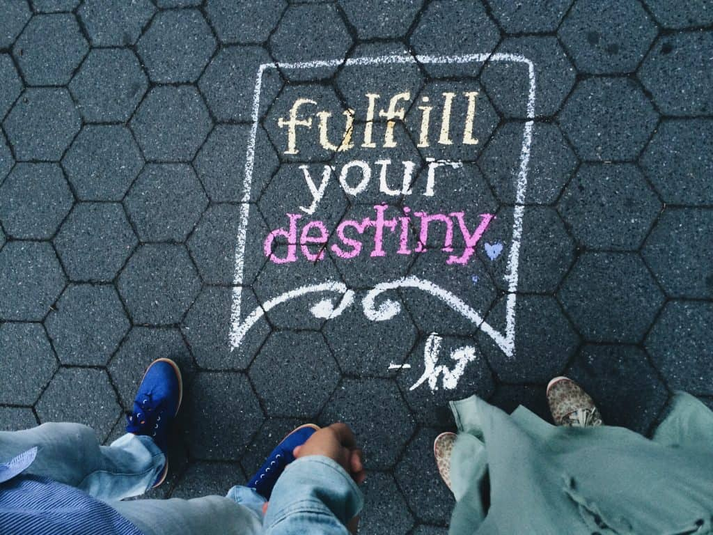 two person standing on full your destiny pavement artwork