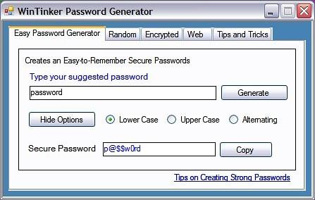 WinTinker Password Generator