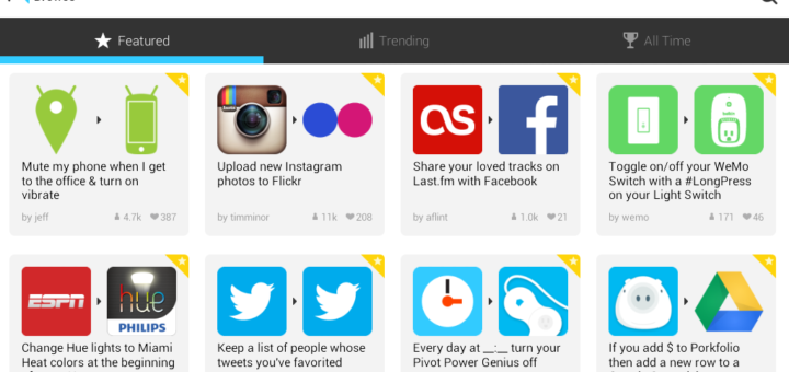 IFTTT recipes for Android