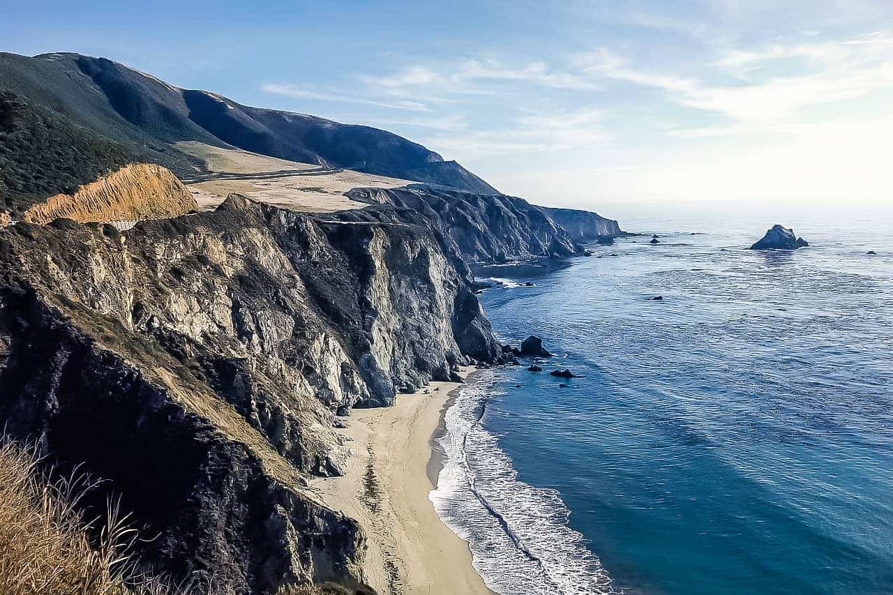 Driving down highway 1 on a northern California road trip