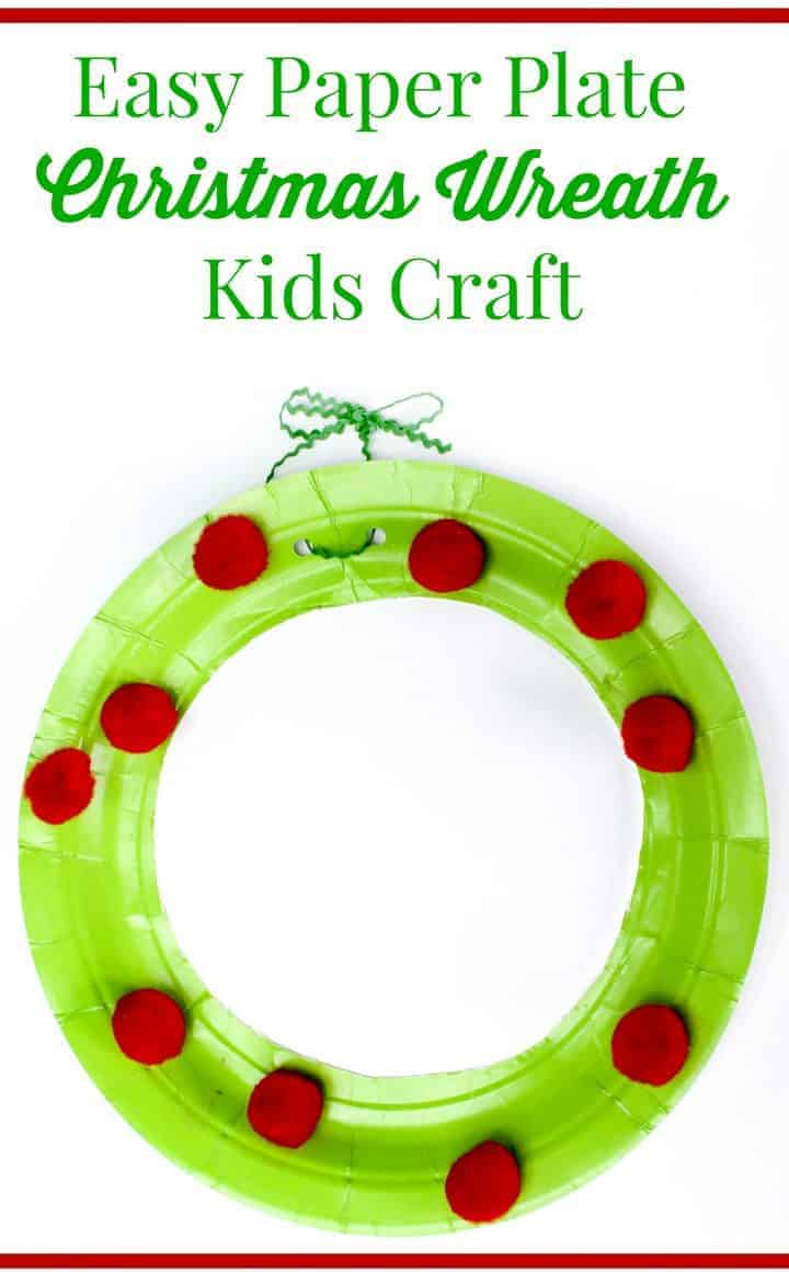 Christmas craft for kids paper plate wreath