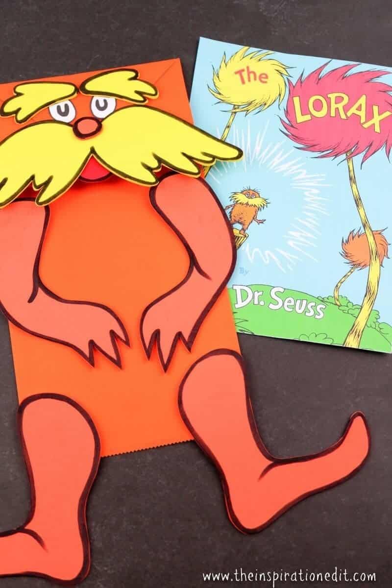 the lorax paper bag puppet for preschool kids
