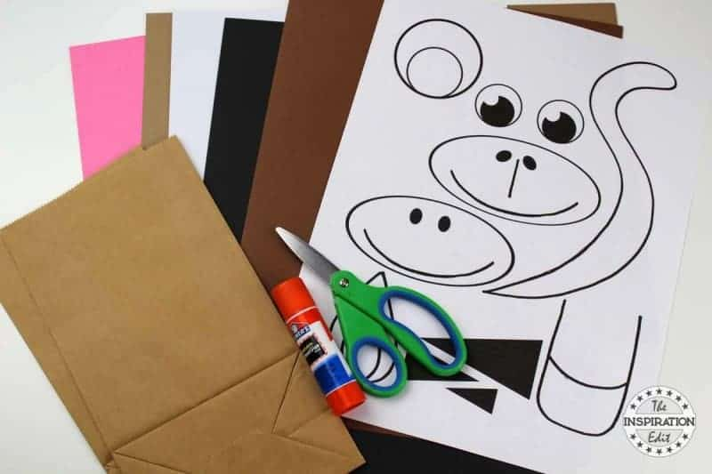 Paper Bag Zebra Puppet Craft Idea supplies needed
