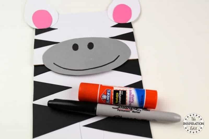 making a paper bag puppet zebra