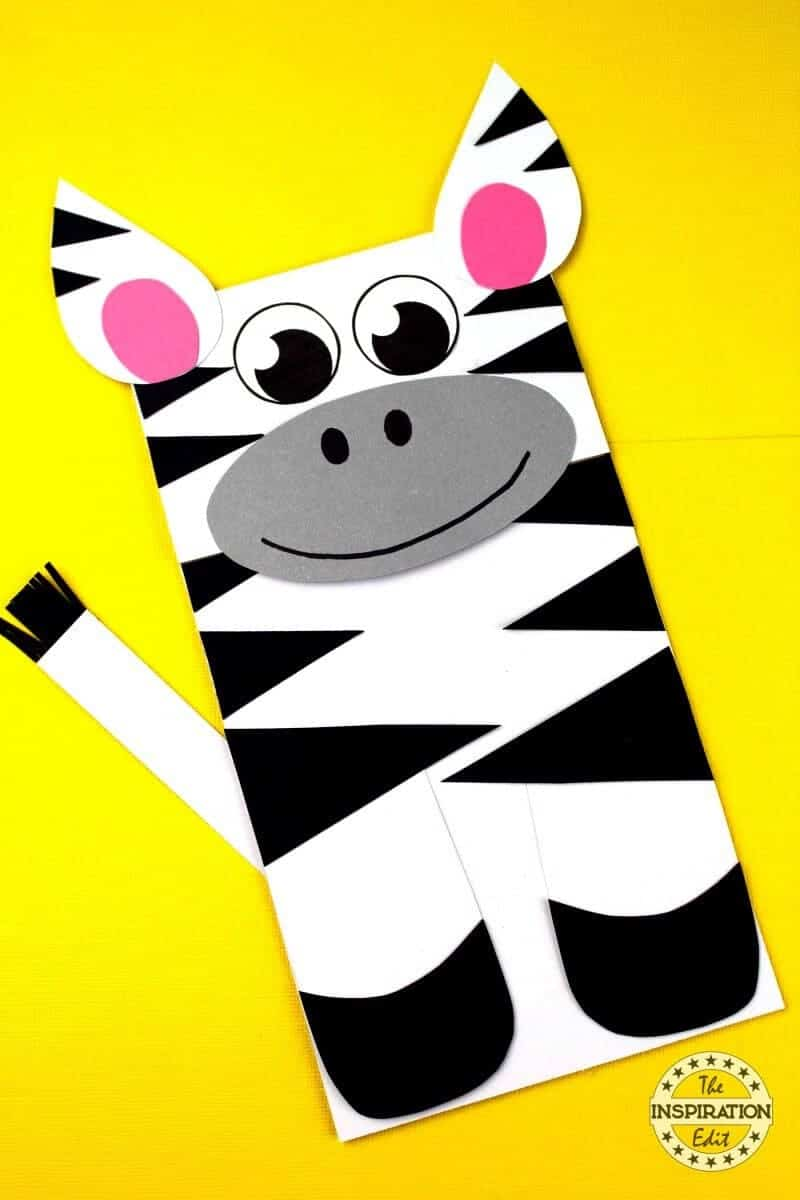 Paper Bag Zebra Puppet Craft preschoolers will love