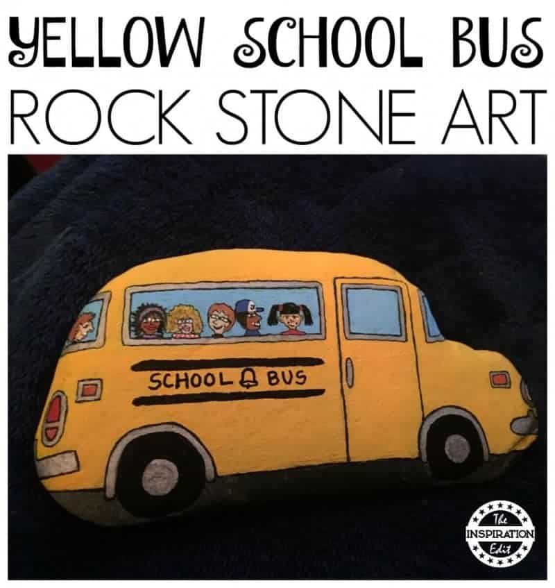 yellow school bus rock painting