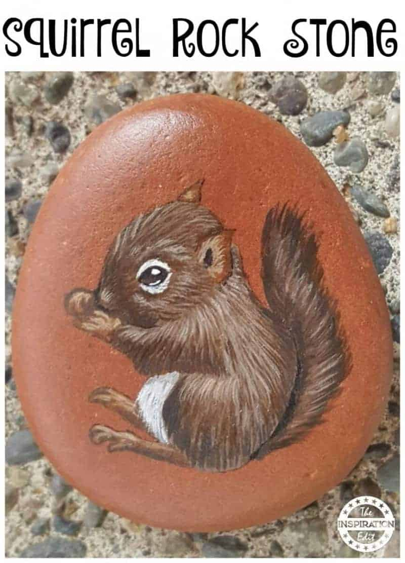 squirrel rock stone painting