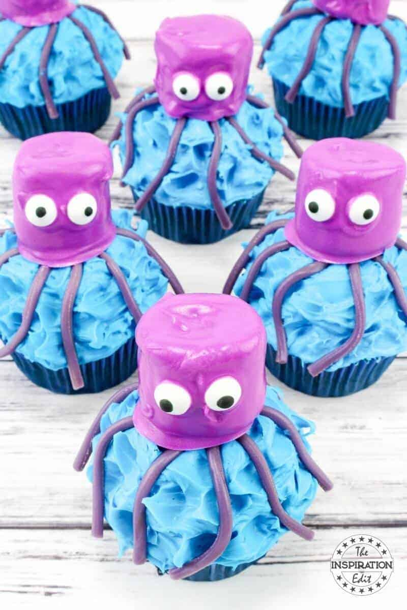 Ocotopus cupcakes. marshmallow heads and blue chocolate a great baking with kids idea