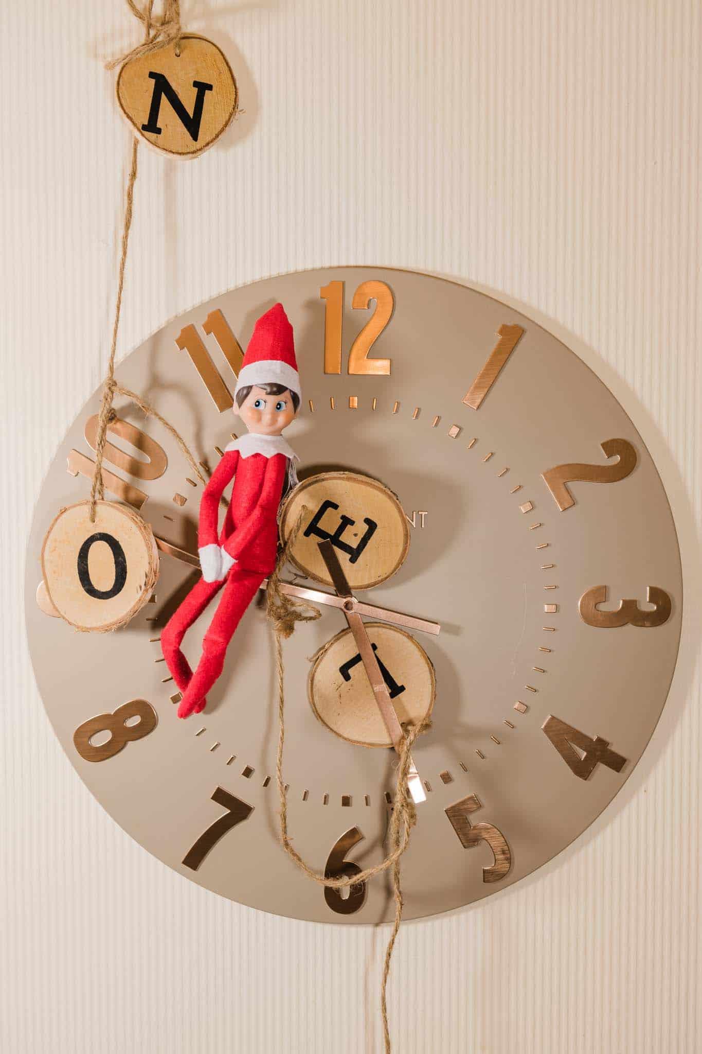 naughty Elf On The Shelf On The Clock