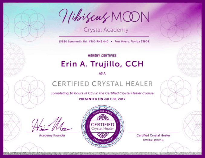 This is an example of the certificate of completion that Hibiscus Moon offers students at graduation.