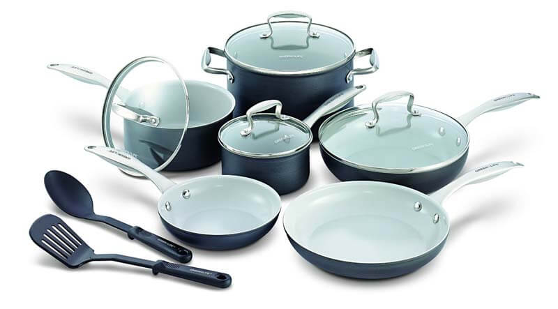 Greenlife 12 piece hard anodized nonstick ceramic classic cookware set