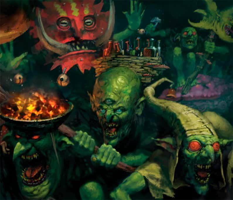 Cool artwork of the Gobbapalooza gang for the gloomspite gitz age of sigmar army