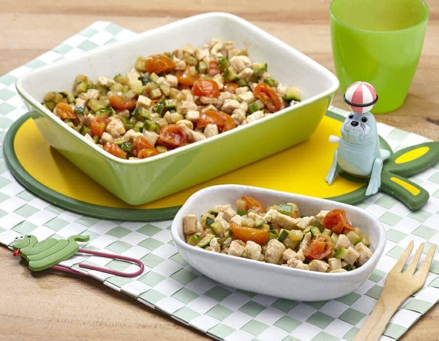 Tocchetti di pollo con zucchine Ricette per bambini 1-3 anni