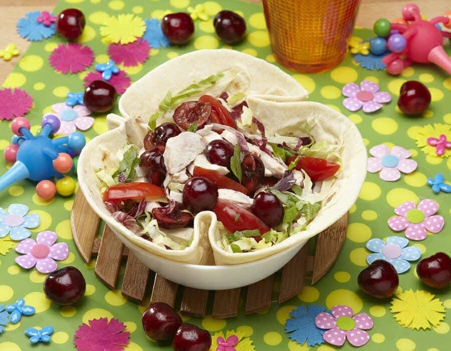 Insalata di pollo e ciliegie Ricette per bambini 4-10 anni