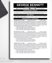 Resume Template George Bennett 2 Page A Professional Resume For Word - Simple Resume Template Instant Download, Easy Edit, Professional Resume Template | Check more resume templates, how to answer interview questions and many career tips at www.BestResumes.info