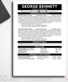 Resume Template George Bennett 2 Page B Resume Template For Word - Simple Resume Template Instant Download, Easy Edit, Professional Resume Template | Check more resume templates, how to answer interview questions and many career tips at www.BestResumes.info