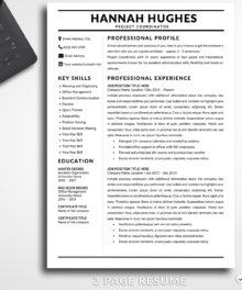 Resume Template Hannah Hughes 2 Page A Professional Resume For Word - Simple Resume Template Instant Download, Easy Edit, Professional Resume Template | Check more resume templates, how to answer interview questions and many career tips at www.BestResumes.info