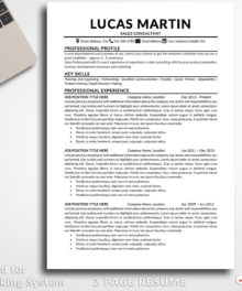 Resume Template Lucas Martin 2 Page A Professional Resume For Word - Simple Resume Template Instant Download, Easy Edit, Professional Resume Template | Check more resume templates, how to answer interview questions and many career tips at www.BestResumes.info