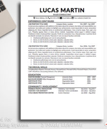 Resume Template Lucas Martin 2 Page B Professional Resume For Word - Simple Resume Template Instant Download, Easy Edit, Professional Resume Template | Check more resume templates, how to answer interview questions and many career tips at www.BestResumes.info
