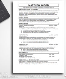 Resume Template Matthew Wood 1 Page Resume For Word and Pages (Mac) - Simple Resume Template Instant Download, Easy Edit, Professional Resume Template | Check more resume templates, how to answer interview questions and many career tips at www.bestresumes.info