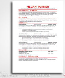 Resume Template Megan Turner 1 Page Resume For Word and Pages (Mac) - Simple Resume Template Instant Download, Easy Edit, Professional Resume Template | Check more resume templates, how to answer interview questions and many career tips at www.BestResumes.info