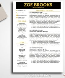 Resume Template Zoe Brooks 2 Page B - Modern Resume Template Instant Download, Easy Edit, Professional Resume Template | www.bestresumes.info #resumetemplate #bestresumes