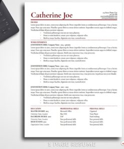 Resume Template Catherine Joe 1 Page Professional Resume For Word - Simple Resume Template Instant Download, Easy Edit, Professional Resume Template | Check more resume templates, how to answer interview questions and many career tips at www.BestResumes.info #resumetemplate #resume #resumedesign