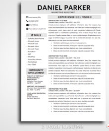 Resume Template Daniel Parker 2 Page B Resume Template For Word - Modern Resume Template Instant Download, Easy Edit, Professional Resume Template | Check more resume templates, how to answer interview questions and many career tips at www.BestResumes.info #resumetemplate #resume #resumedesign