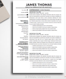 Resume Template James Thomas 2 Page B Resume Template For Word - Modern Resume Template Instant Download, Easy Edit, Professional Resume Template | Check more resume templates, how to answer interview questions and many career tips at www.BestResumes.info #resumetemplate #resume #resumedesign
