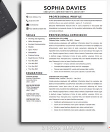 Resume Template Sophia Davies 2 Page A Resume Template For Word - Modern Resume Template Instant Download, Easy Edit, Professional Resume Template | Check more resume templates, how to answer interview questions and many career tips at www.BestResumes.info #resumetemplate #resume #resumedesign