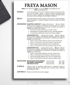 Resume Template Freya Mason 1 Page Professional Resume docx For MS Word - Simple Resume Template Instant Download, Easy Edit, Professional Resume Template | Check more resume templates, how to answer interview questions and many career tips at www.BestResumes.info #resumetemplate #resume #resumedesign