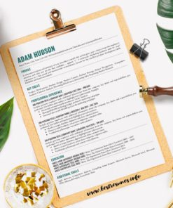 Professional Resume Resume Template One Page Adam Hudson for Google Docs - Simple Resume Template Instant Download, Easy Edit, CV Template Downloadable Google Docs | Check more resume templates, resume tips, resume examples and resume samples at www.BestResumes.info #resumetemplate #resume #resumedesign