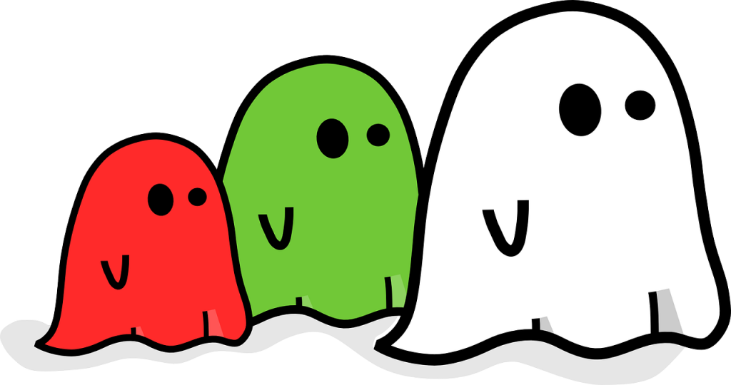 Ghosts in different colors and sizes