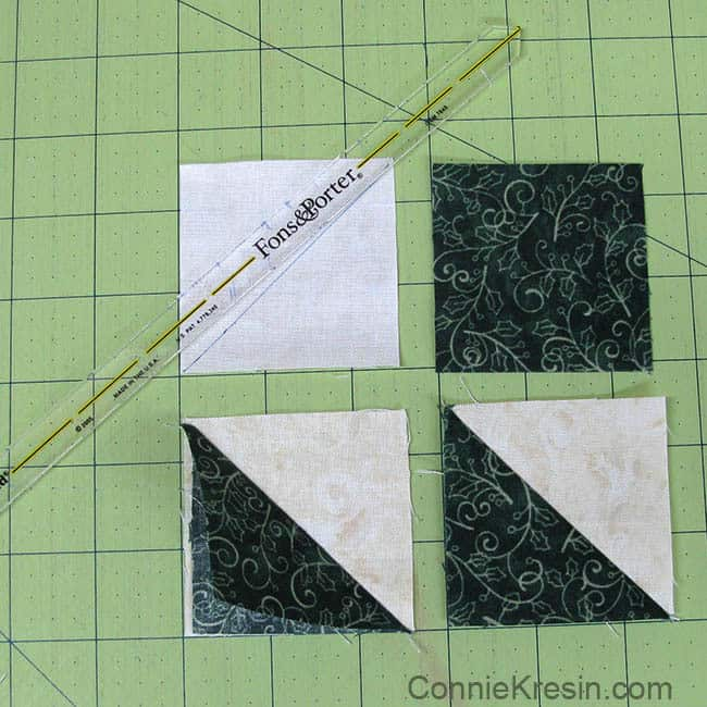 Christmas Trees Tablerunner tutorial making HSTs half square triangles